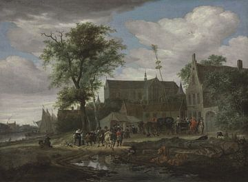Grote of Sint-Laurenskerk vanuit het zuiden, met een meiboom, Salomon van Ruysdael