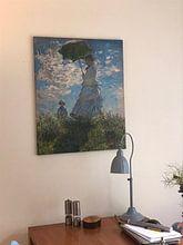 Klantfoto: Vrouw met een Parasol, Mevrouw Monet en haar zoon, Claude Monet, op canvas