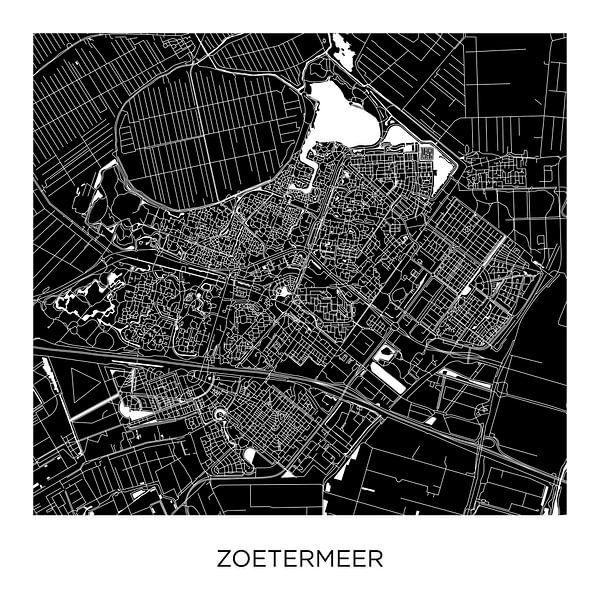 Zoetermeer Stadskaart ZwartWit  |  Vierkant van Wereldkaarten.Shop
