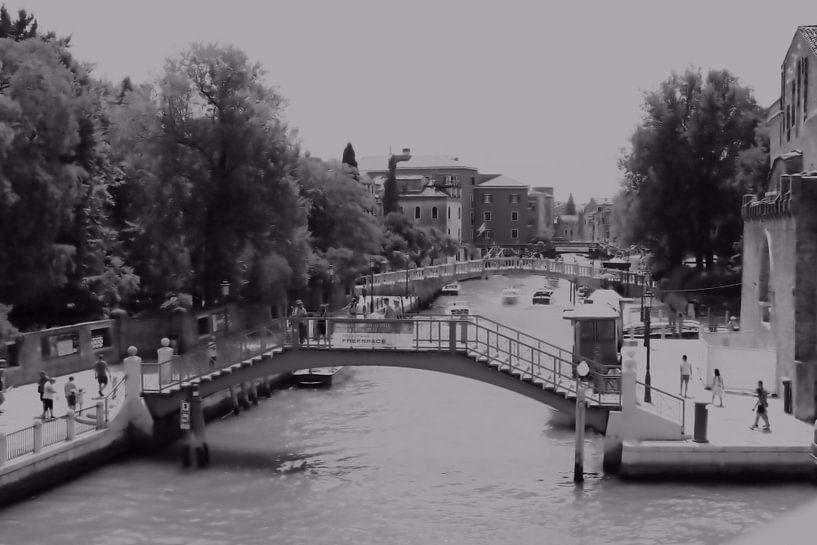 Ponts de Venise et scène du canal BW sur Loretta's Art