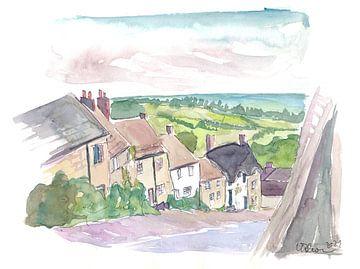 Gold Hill straatbeeld Shaftesbury Dorset Engeland van Markus Bleichner