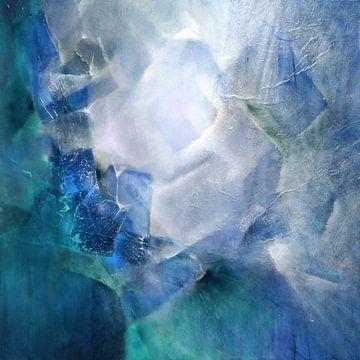 Abstrakte Komposition in weiß und türkis von Annette Schmucker
