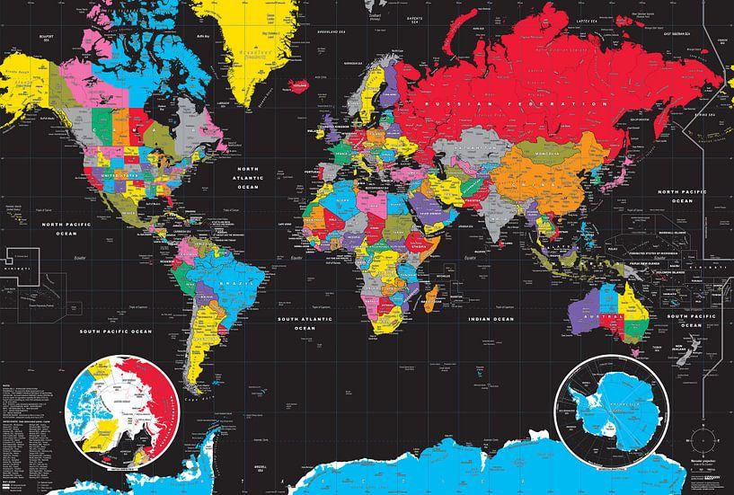 Weltkarte, Schwarz von MAPOM Geoatlas