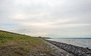 Fietsers op een lange Nederlandse dijk aan het Haringvliet van Ruud Morijn
