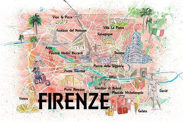 Florenz Italien Illustrierte Karte mit Straßenmarkierungen und Highlights von Markus Bleichner