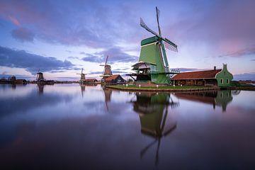 Zaanse Shans molens zonsondergang van Michiel Dros