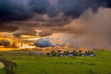 Nederlands weiland met wolken van Fred Leeflang