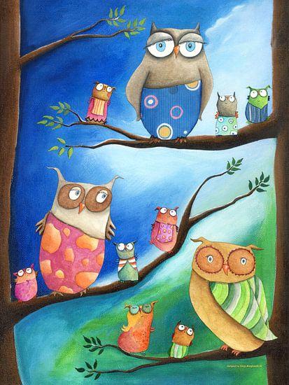 Uilenschool - Schilderij voor Kinderen van Atelier BuntePunkt