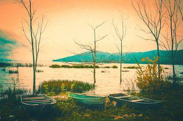 Die umgekehrte Welt des Bootes und des Baumes. von Joris Pannemans - Loris Photography
