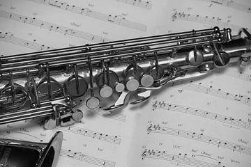 Sax on the music B/W van Jeanine den Engelsman