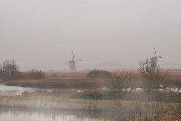 Mist aan de Kinderdijk met de Windmolens van Brian Morgan