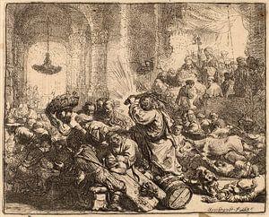 Rembrandt van Rijn Christus die Geldwisselaars van de Tempel verdrijft van