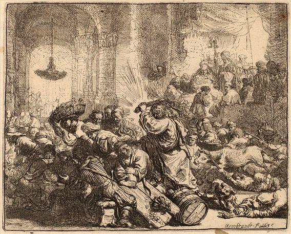 Rembrandt van Rijn Christus die Geldwisselaars van de Tempel verdrijft