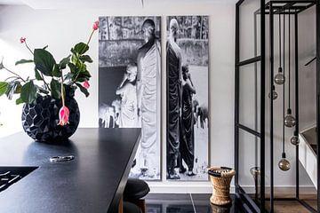 Kundenfoto: Tafel 1 der Diptychon-Mönche beim Baden von Elefanten von Affect Fotografie