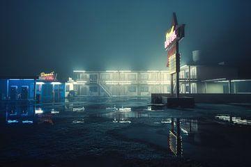 Amerikaans Motel bij nacht van Arjen Roos