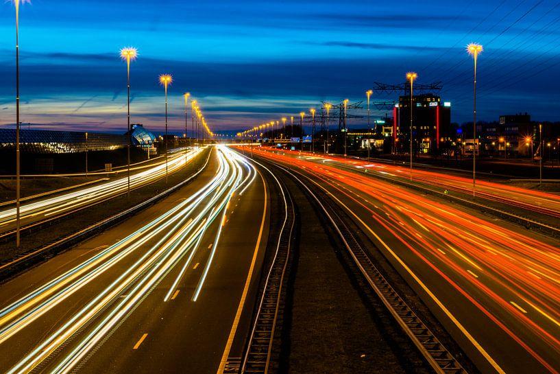 snelweg A2 by night van Hans Verhulst