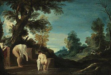 Landschaft mit badenden Frauen, Guercino