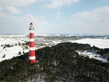 Vuurtoren van Ameland in Winter van Denise M. Jans
