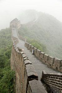 Chinese muur in de wolken van