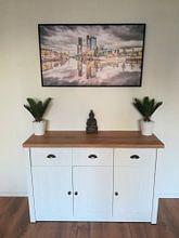 Klantfoto: Skyline Leeuwarden met wolkenlucht van Harrie Muis, op canvas