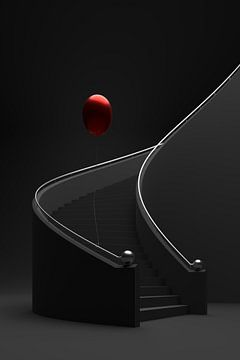 Spiraalvormige trap met ballon van Jörg Hausmann