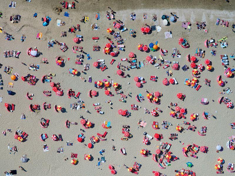 Een Warme Winter : Zonaanbidders op het strand van zandvoort op een warme zomerse dag