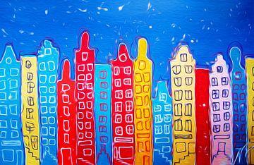 Grachtenpanden in Amsterdam van Nicole Roozendaal