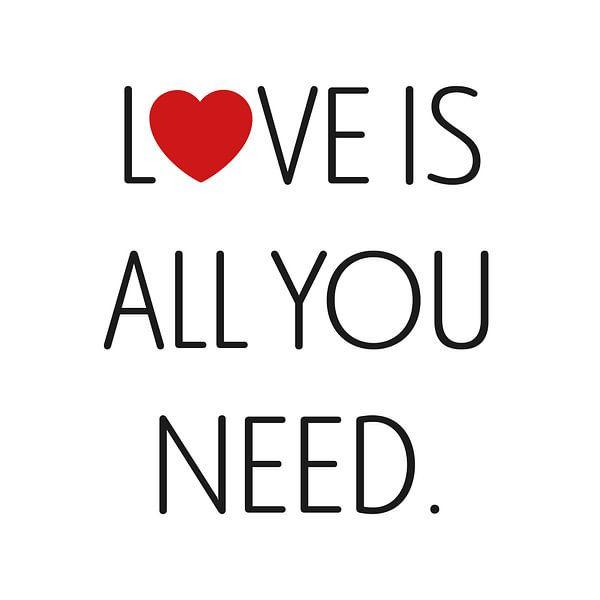 Canvas met tekst Love is all you need van Mike Maes