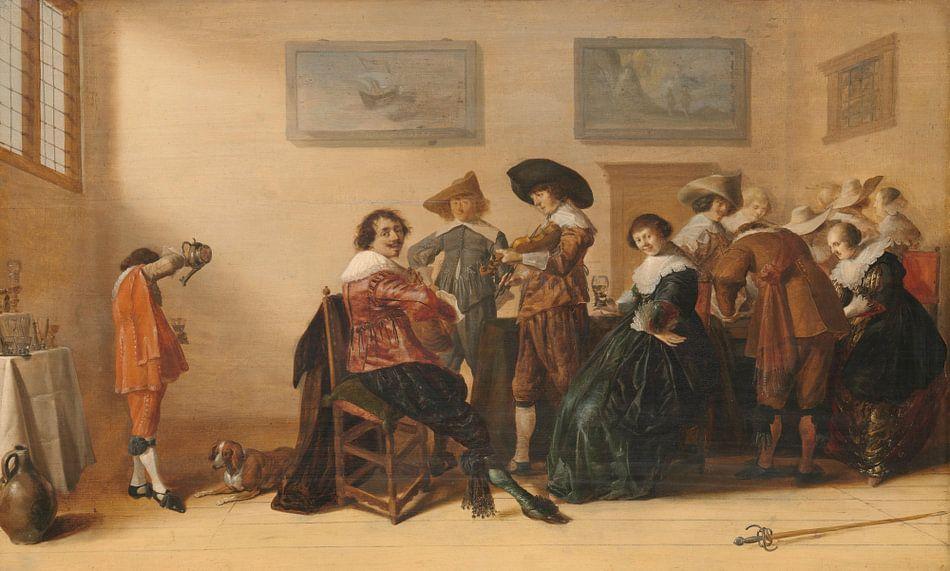 Vrolijk gezelschap in een kamer, Anthonie Palamedesz. van Meesterlijcke Meesters