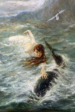Spiel mit Delfinen, BENEŠ KNÜPFER - 1890er Jahre von Atelier Liesjes