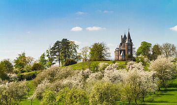 Panorama von Schloss Hulsberg, umgeben von Blüten von Easycopters
