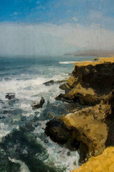 Kustlijn van het schiereiland Paracas in Peru, schilderij van Rietje Bulthuis