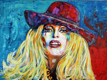 "Brigitte BARDOT ""Hat"" van Kathleen Artist van Kathleen Artist Fine Art"