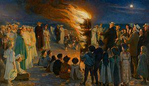 Mittsommerabend-Lagerfeuer am Strand von Skagen, Peder Severin Krøyer