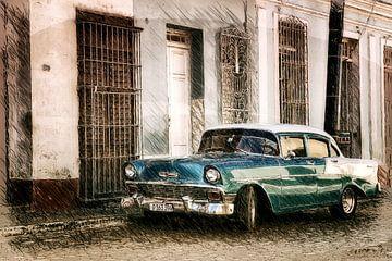 Cadillac in den Straßen von Havanna van Andre Sinzger