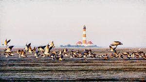 Nonnengänse vor Westerhever Leuchtturm