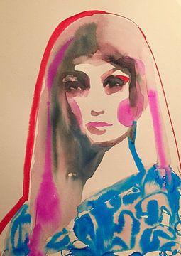 Blauer Druck von Helia Tayebi Art