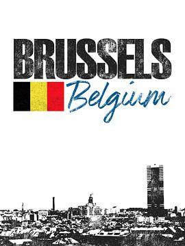 Brussel België van Printed Artings