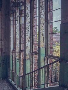 Verlassene Orte: vertikale Fenster von