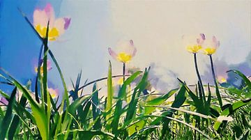 Tulipes légères sous le soleil et le ciel bleu au-dessus de brins d'herbe verte - Peinture