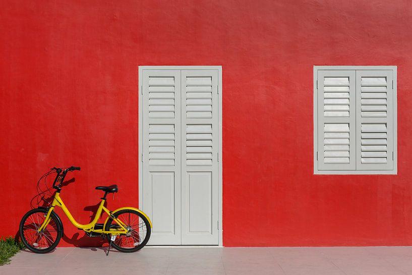Rode muur met gele kinderfiets van Jan van Dasler