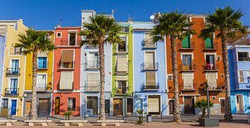 Kleurrijke huizen en palmbomen in Villajoyosa van Marc Venema
