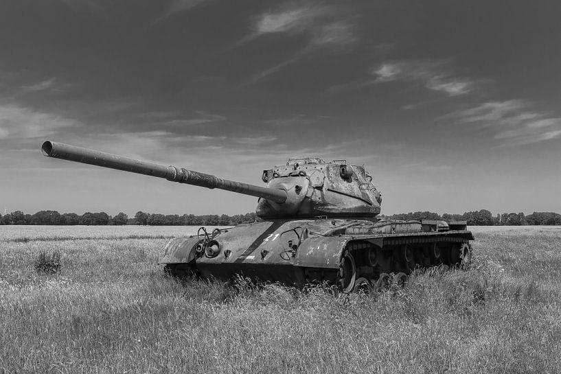 M47 Patton leger tank zwart wit van Martin Albers Photography