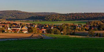Oberbeisheim zu Sonnenuntergang von Gisela Scheffbuch
