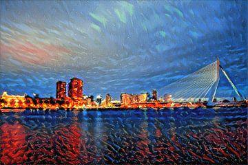 Atmosphärische Malerei Kai Rotterdam mit Erasmusbrücke von Slimme Kunst.nl