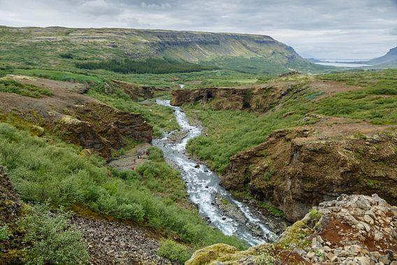 IJslands landschap gezien vanaf de waterval Glymur