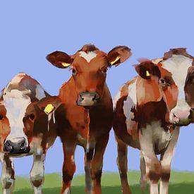 Drie nieuwsgierige koeien. van SydWyn Art