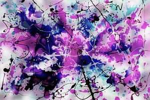 Modernes, abstraktes digitales Kunstwerk in Rosa-Violett-Blau und Schwarz von Art By Dominic