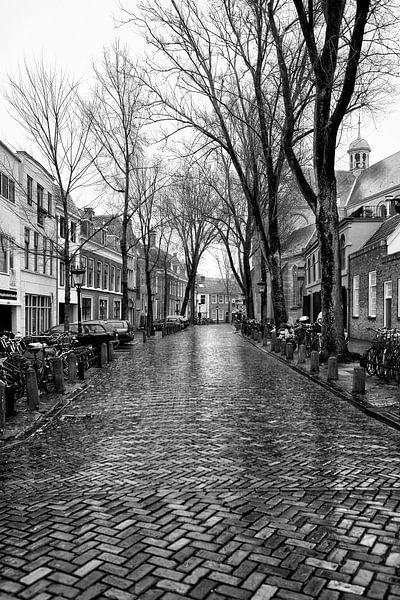Een verlaten Pieterskerkhof in Utrecht op een druilerige dag