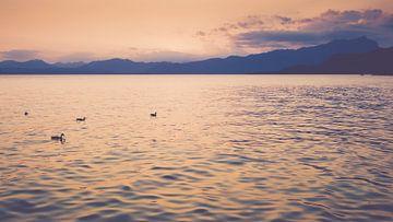 Silhouet bergen rondom het Gardameer bij Zonsondergang van